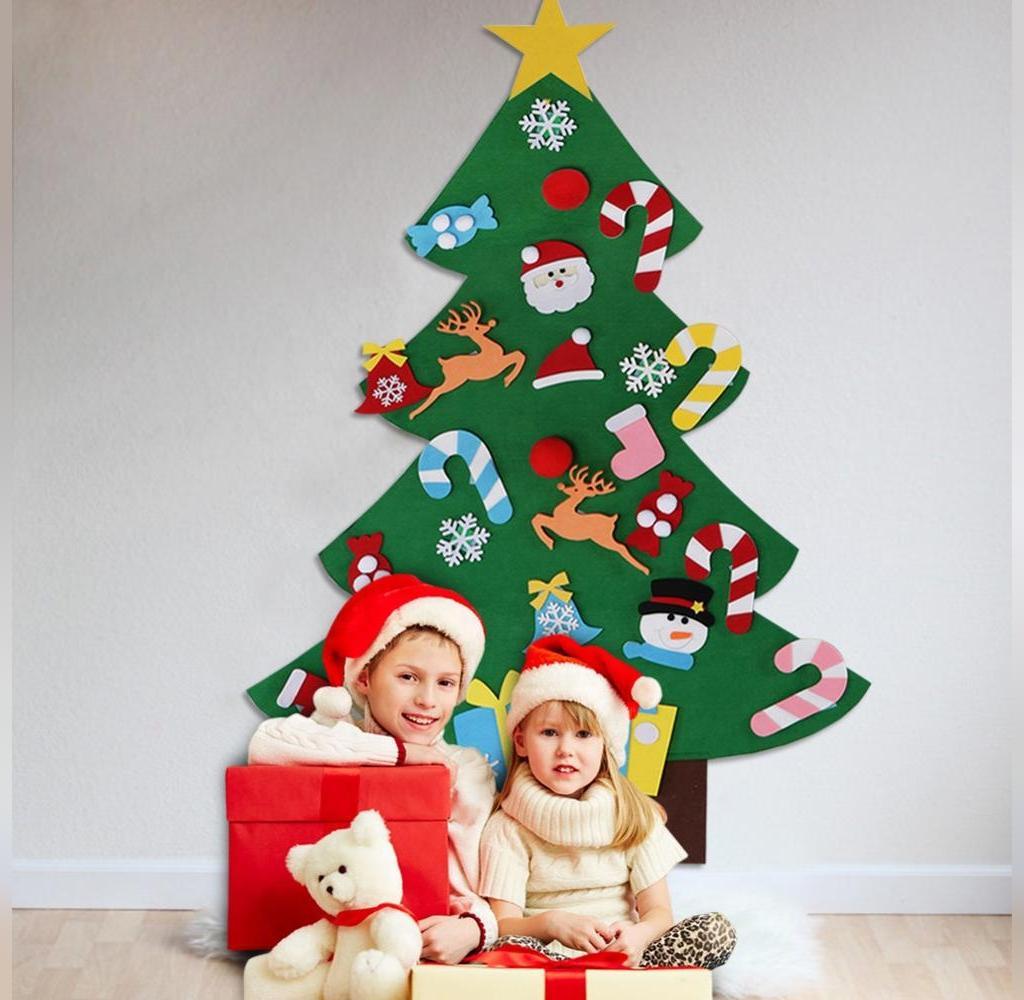 تزیین درخت کریسمس با مقوا و نمد برای بچه ها