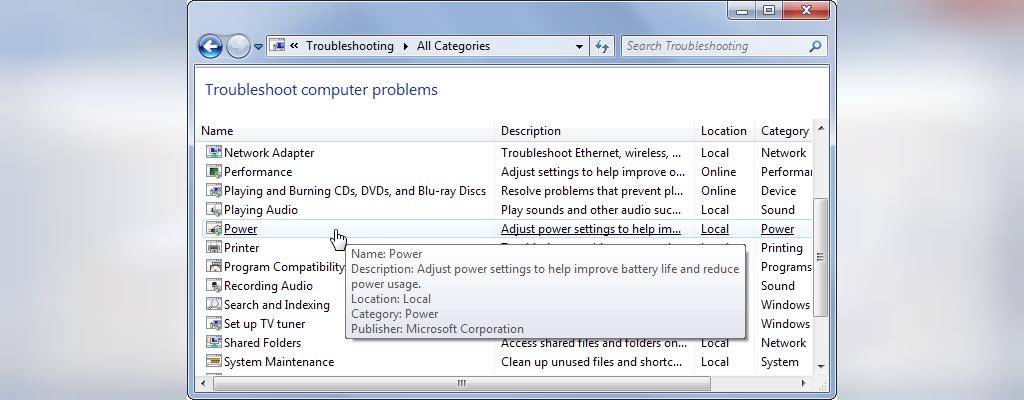 برای افزایش طول عمر باتری لپ تاپ عیب یاب Windows Power تنظیمات