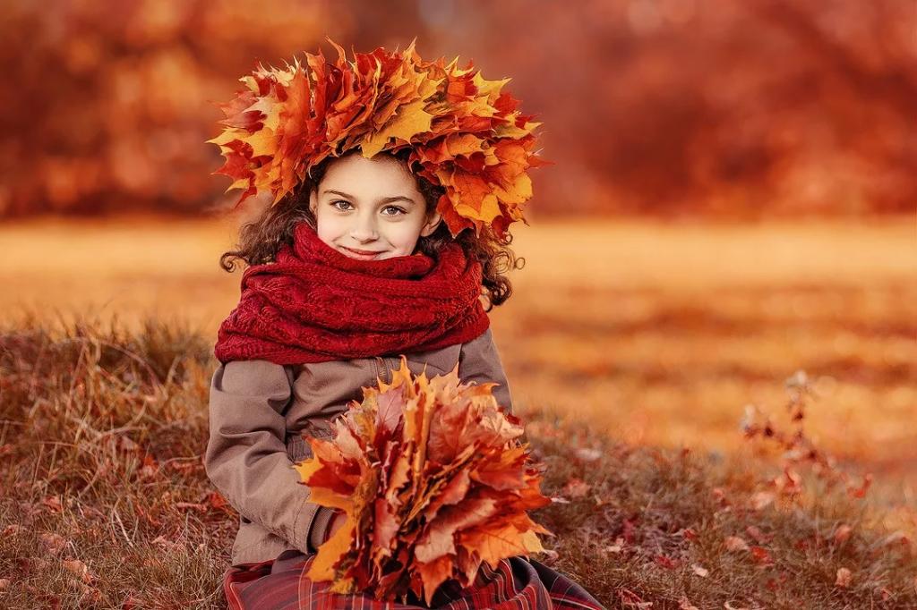 مدل ژست کودکانه پاییزی