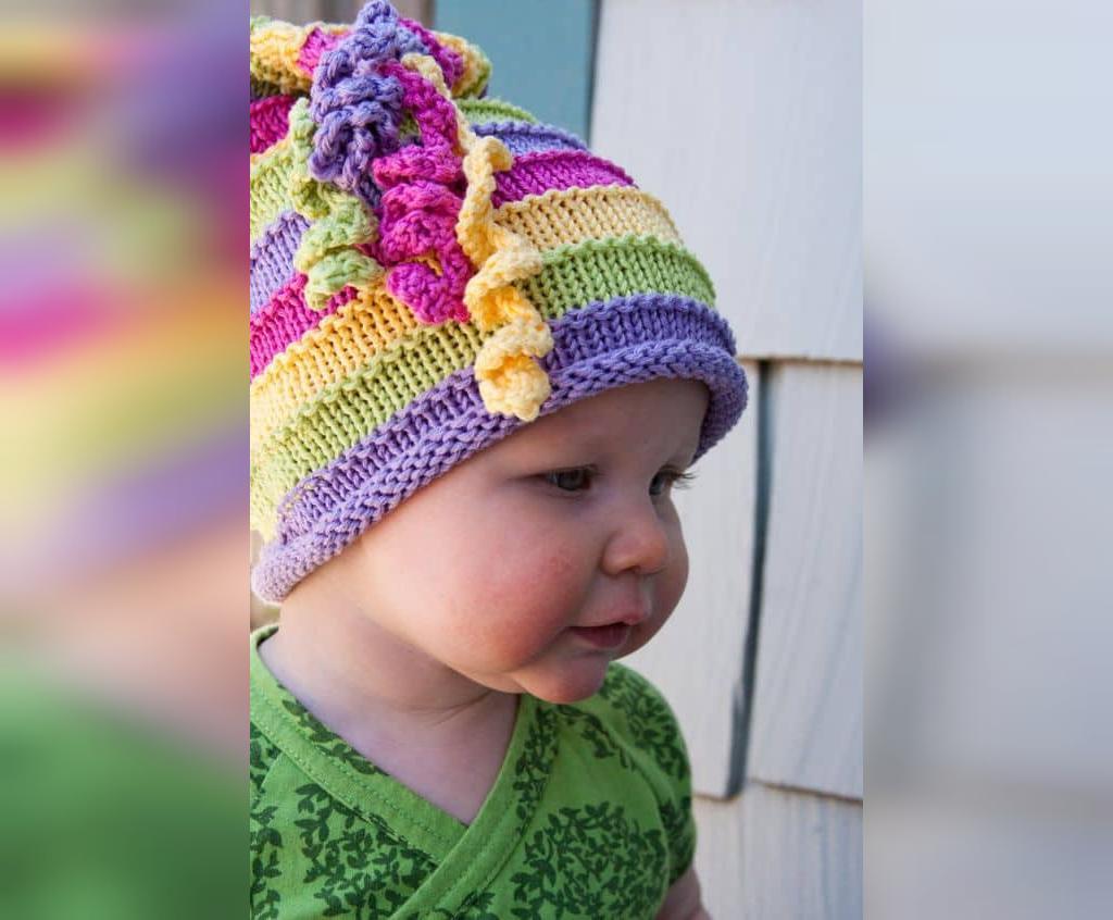 مدل جدید کلاه بافتنی دخترانه طرح دار