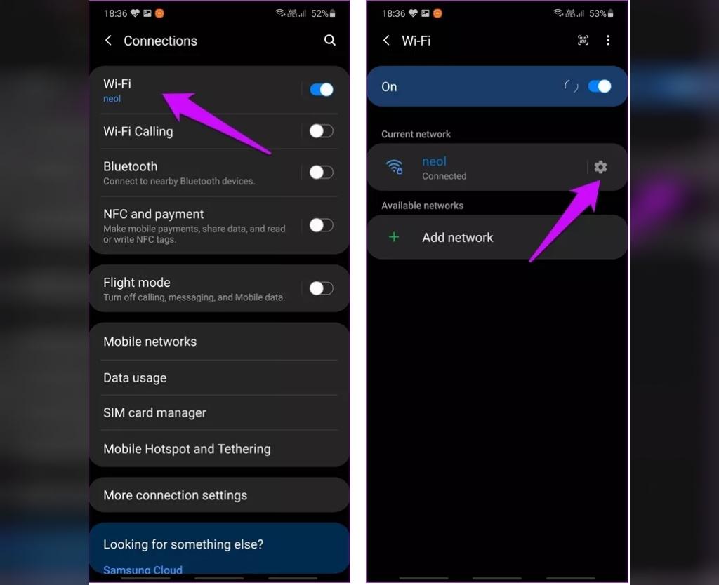 برای عدم اتصال گوشی سامسونگ به وای فای از گزینه Forget Network بهره بگیرید