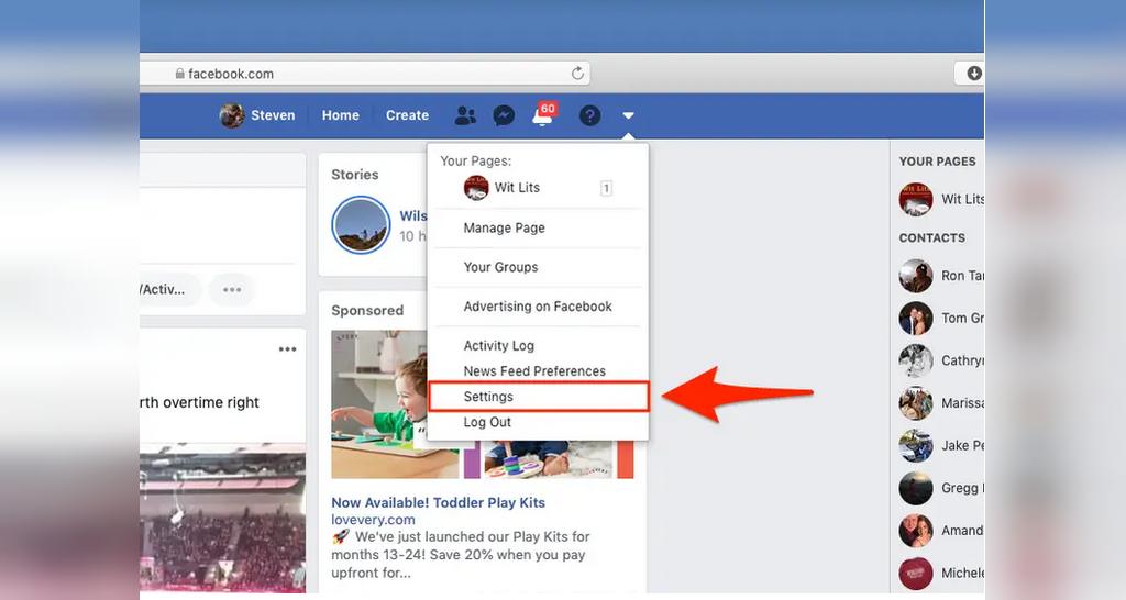 تنظیمات نام کاربری فیس بوک از قسمت پروفایل