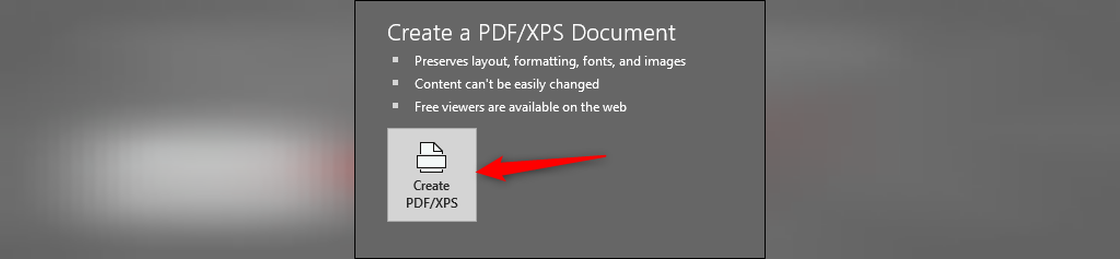گزینه Create PDF/XPS Document