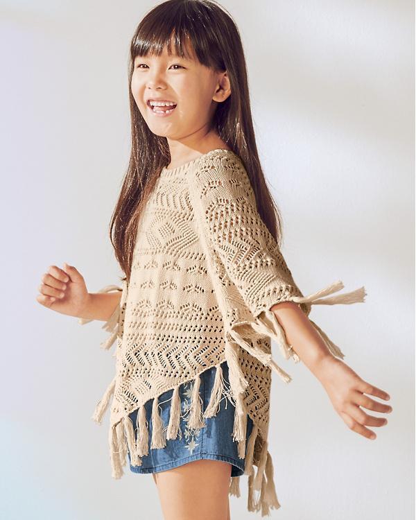 عکس شنل بافتنی دخترانه ساده