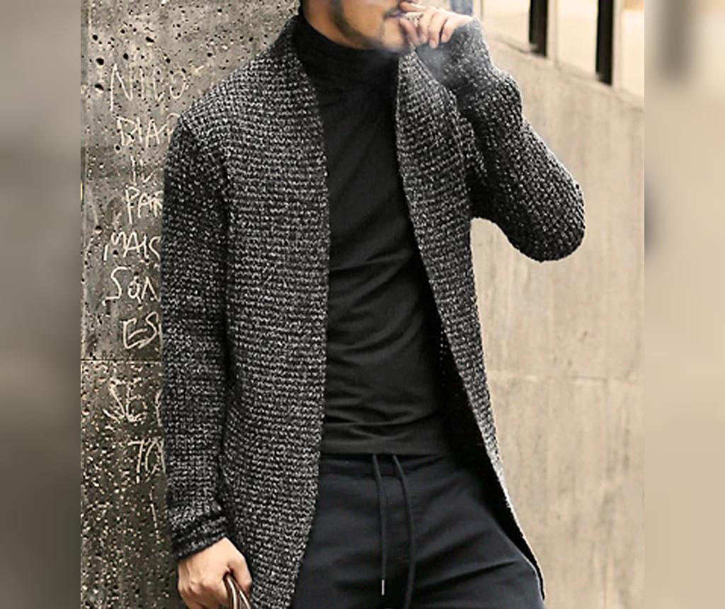 ژاکت بافتنی مردانه جلو باز بلند