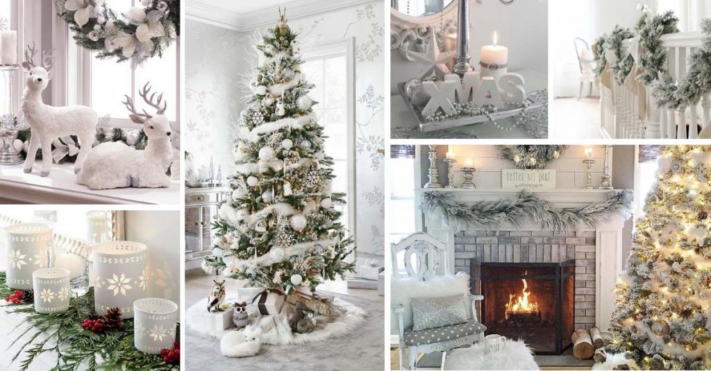 مدل تزیین خانه با درخت کریسمس سفید