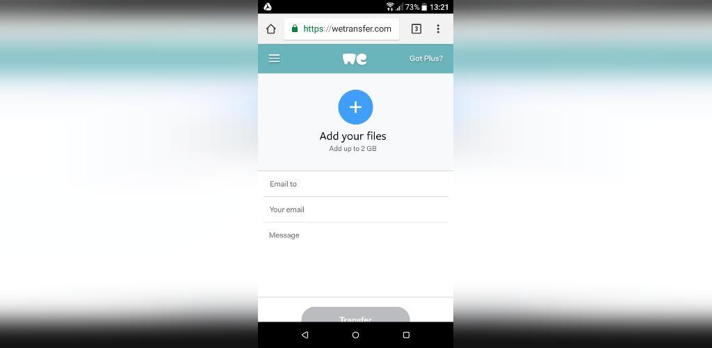 ارسال فایل حجیم در گوشی اندروید با we transfer