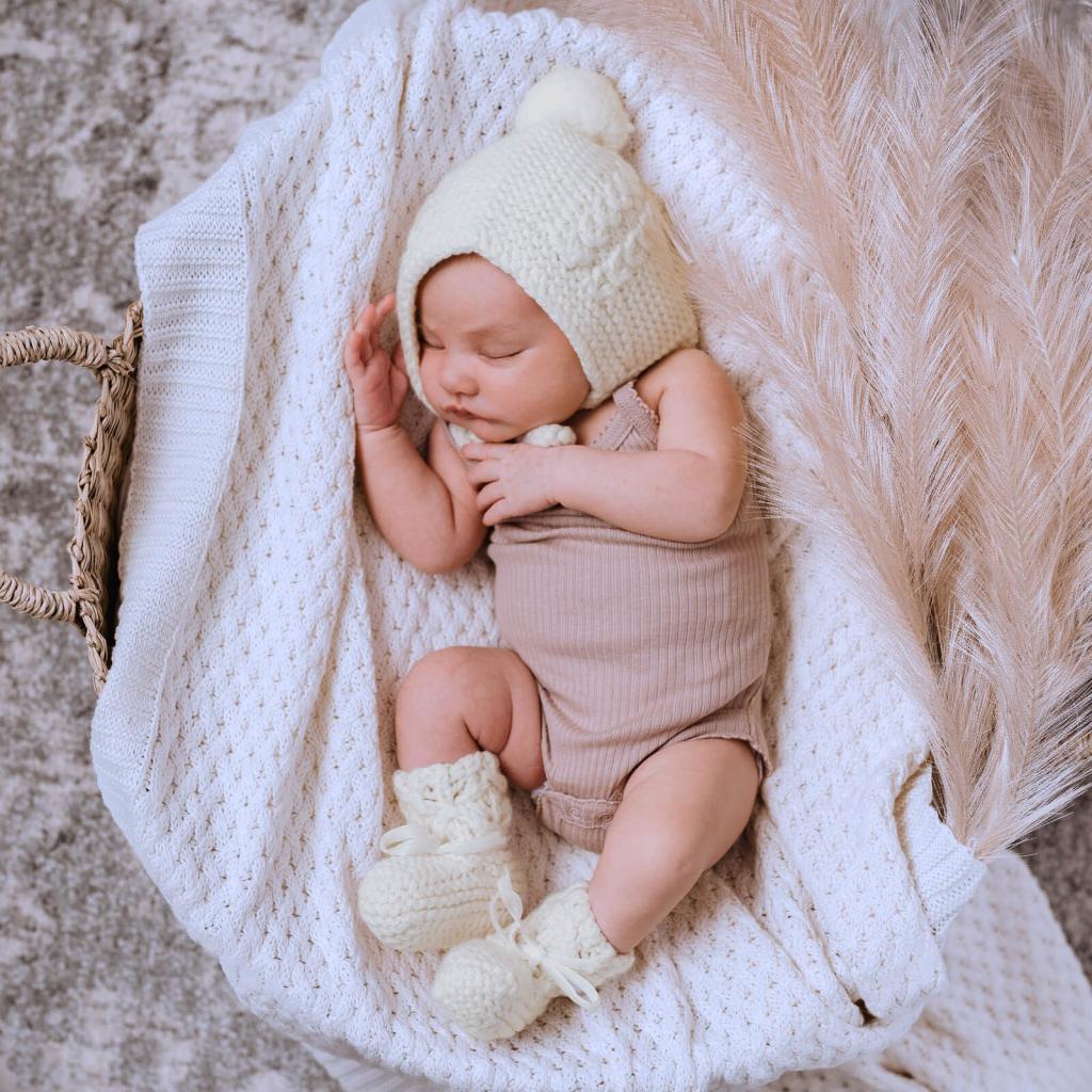 پتو بافتنی با قلاب نوزاد