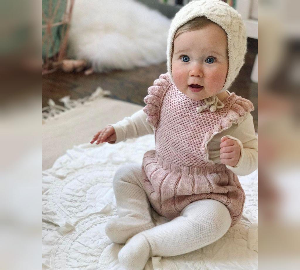 لباس بافتنی نوزاد دخترانه بدون آستین
