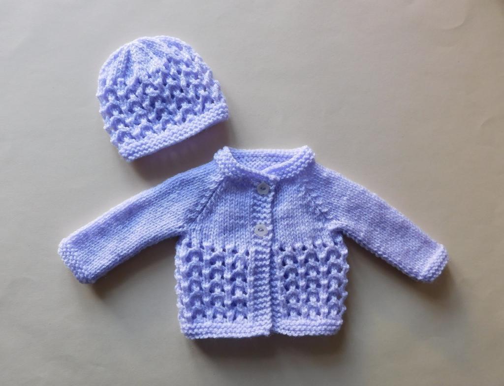 لباس بافتنی نوزاد پسر، مدل کلاه و ژاکت