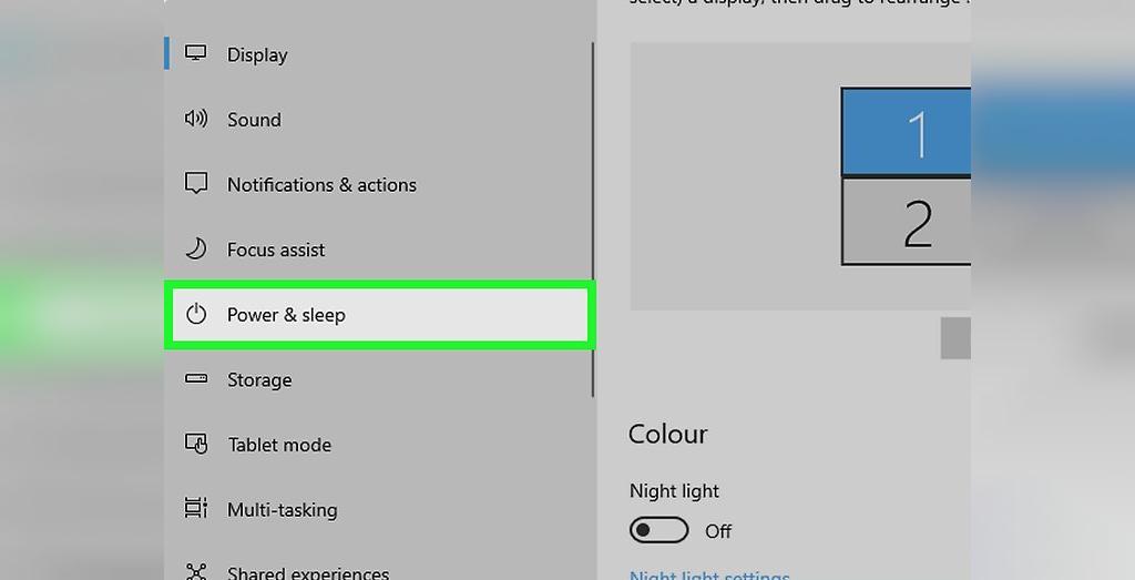 برای حل مشکل لپ تاپی که شارژ نمیشود، در سمت چپ روی Power and Sleep کلیک کنید