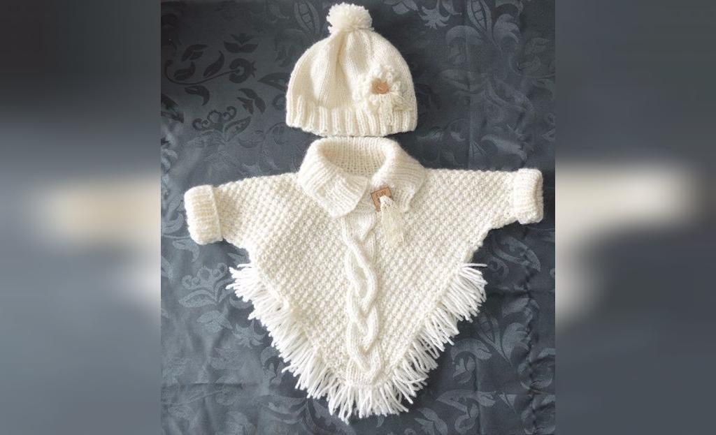 لباس بافتنی نوزاد دخترانه شیک و مجلسی