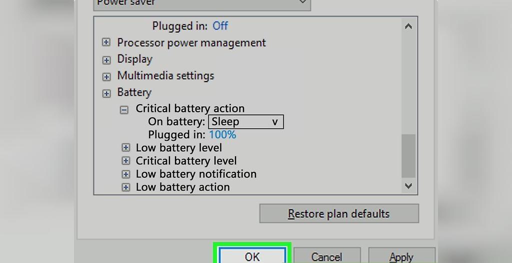 برای حل مشکل شارژ نشدن باتری لپ تاپ، برای ذخیره تنظیمات روی OK کلیک کنید