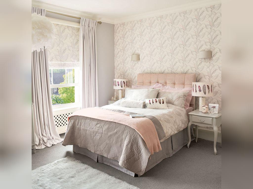 پیشنهادات عالی برای چیدمان اتاق خواب طوسی صورتی