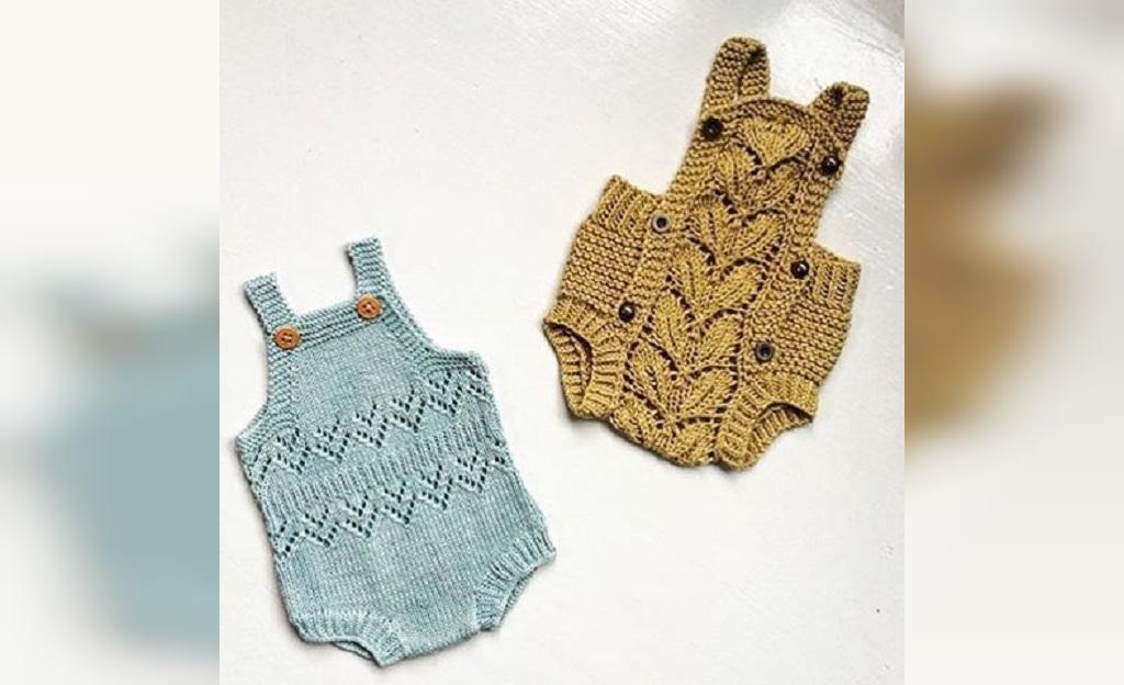 لباس بافتنی نوزاد پسر دو بند