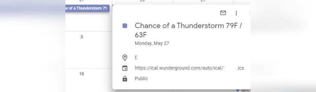 چک کردن اب و هوا با تقویم گوگل