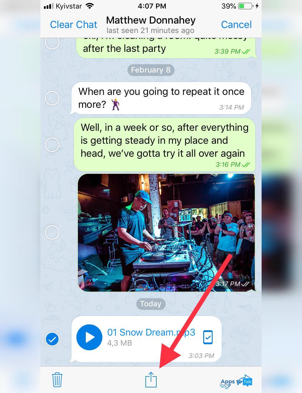 مراحل ذخیره سازی موزیک تلگرام در آیفون