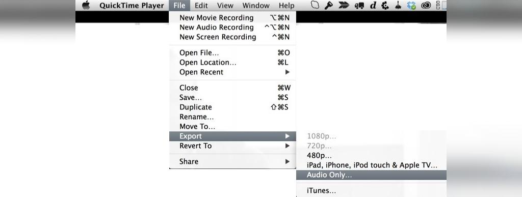 استخراج صدا از ویدیو با QuickTime Player