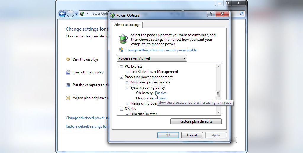 برای افزایش طول عمر باتری لپ تاپPower Plan تنظیمات