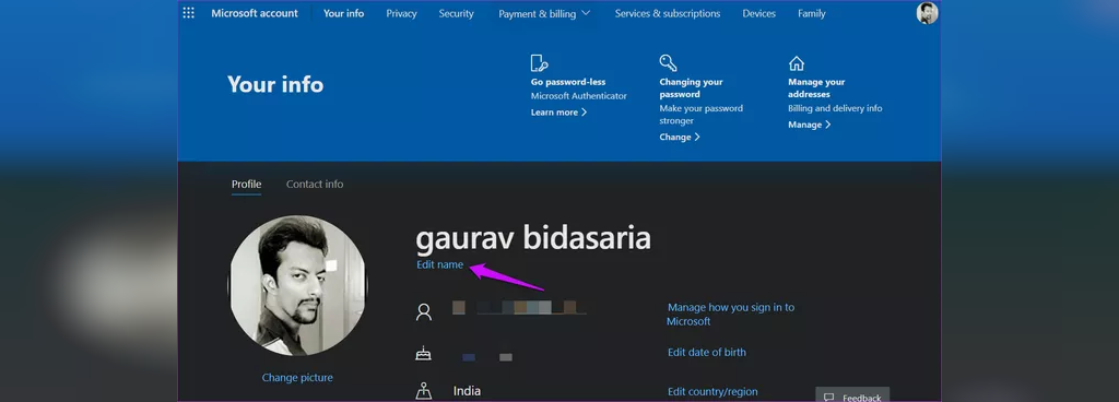 نام حساب Microsoft را بصورت آنلاین تغییر دهید