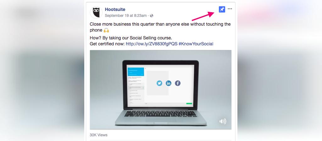 برای افزایش لایک صفحه فیس بوک یک پست عالی را به صفحه خود سنجاق کنید