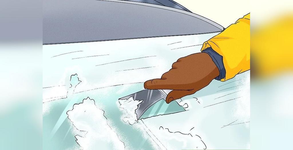 از بین بردن یخ زدگی شیشه ماشین در زمستان