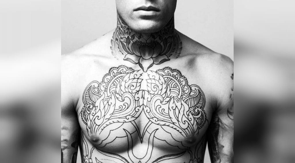 طرح تاتو گردن مردانه زیبا