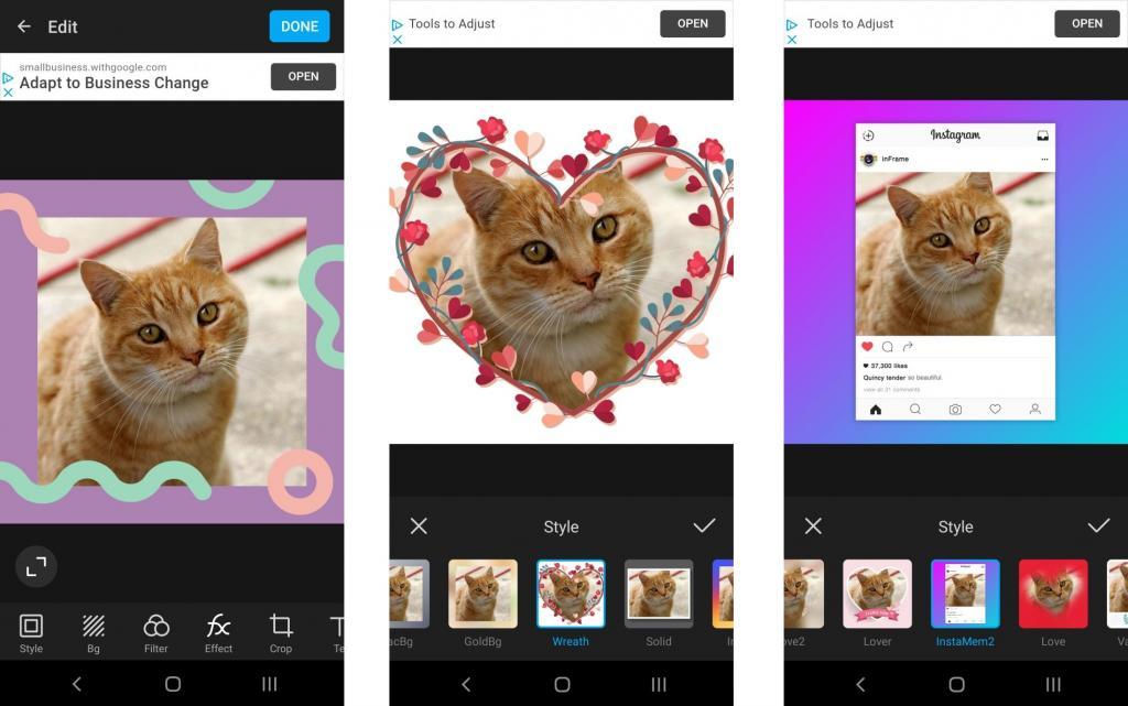 گزینه های مختلفی برای سفارشی سازی عکس در برنامه InFrame