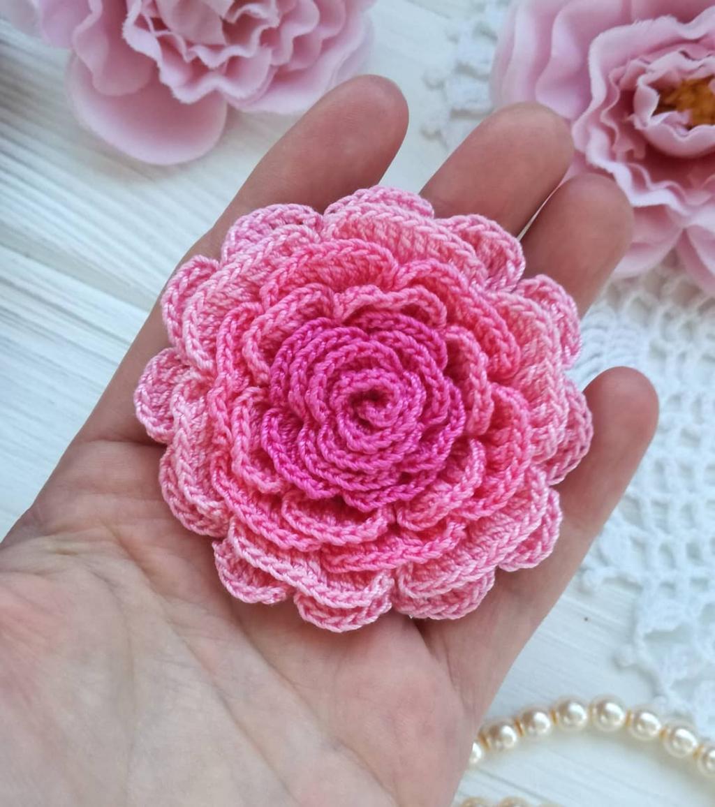 مدل گل بافتنی با میل