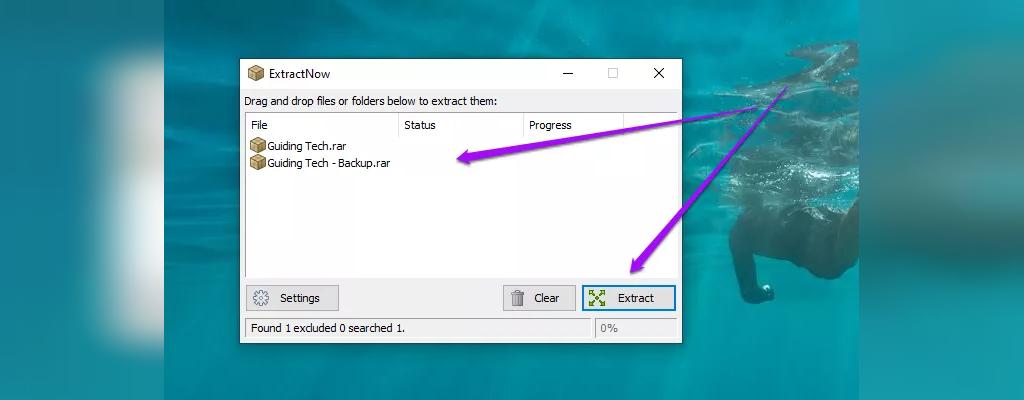 باز کردن فایل زیپ در کامپیوتر با ExtractNow